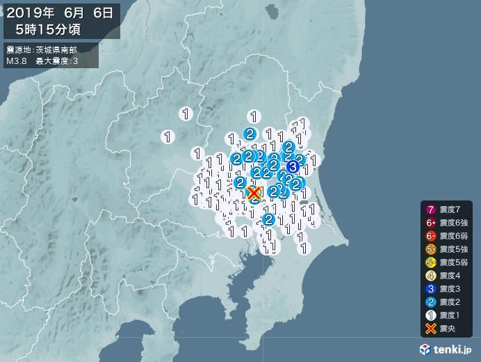 地震情報(2019年06月06日05時15分発生)