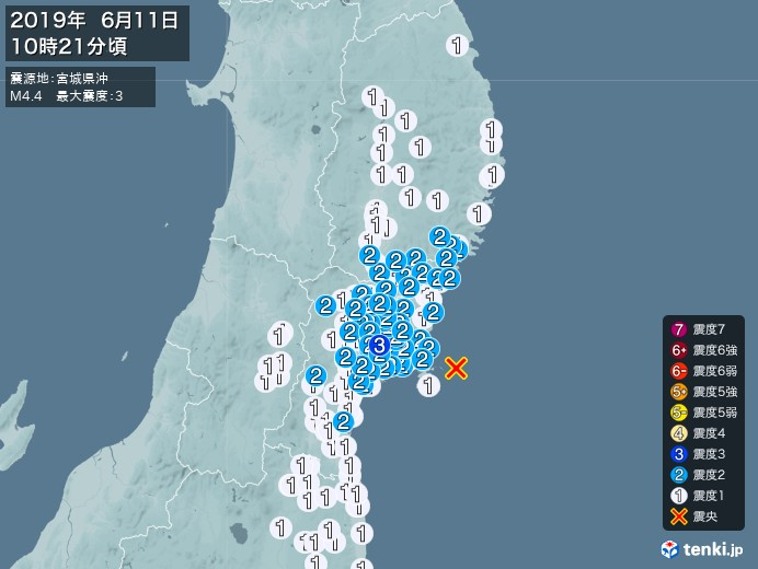 地震情報(2019年06月11日10時21分発生)