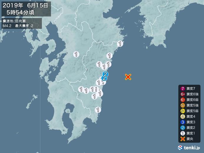 地震情報(2019年06月15日05時54分発生)