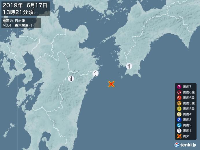 地震情報(2019年06月17日13時21分発生)