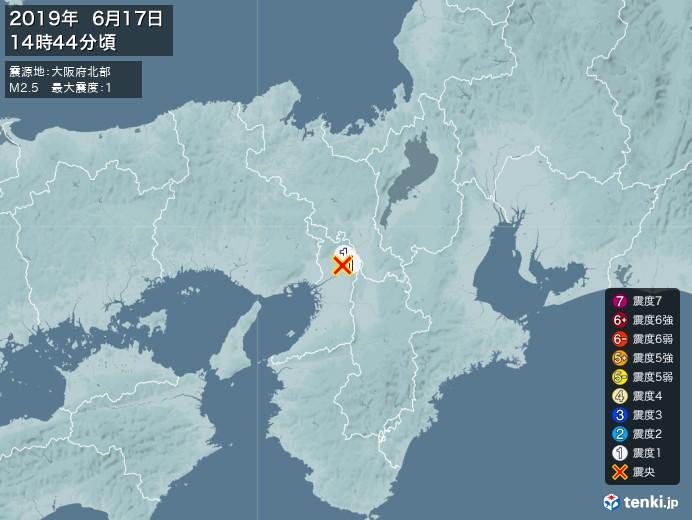 地震情報(2019年06月17日14時44分発生)
