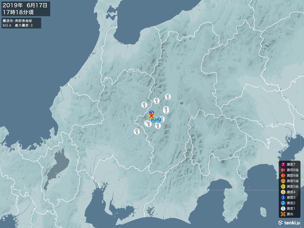 地震情報 2019年06月17日 17時18分頃発生 最大震度:3 震源地:長野県南部(拡大画像)