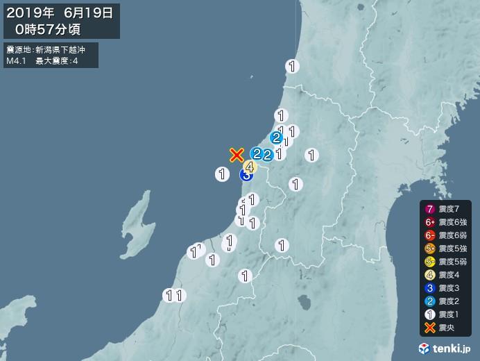 地震情報(2019年06月19日00時57分発生)