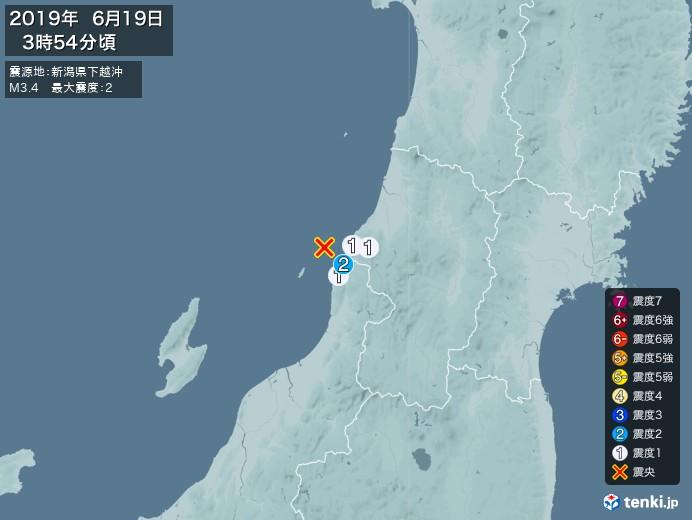 地震情報(2019年06月19日03時54分発生)