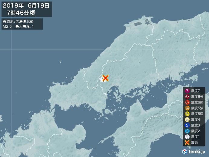 地震情報(2019年06月19日07時46分発生)