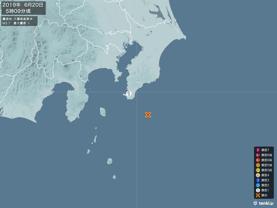 地震情報 2019年06月20日 05時09分頃発生 最大震度:1 震源地:千葉県南東沖(拡大画像)