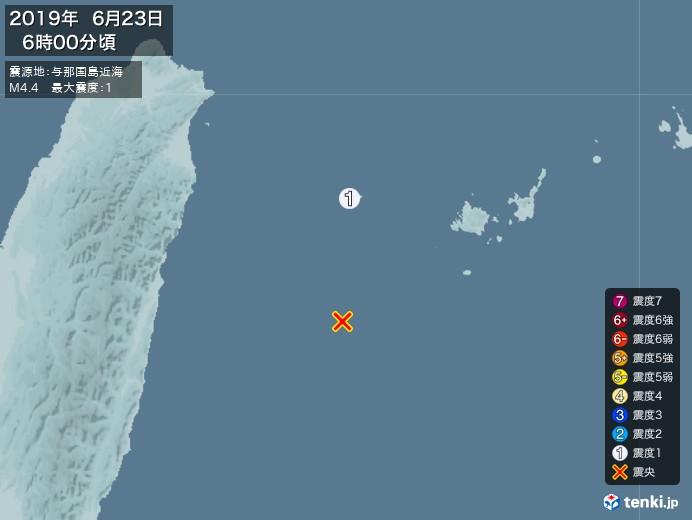 地震情報(2019年06月23日06時00分発生)