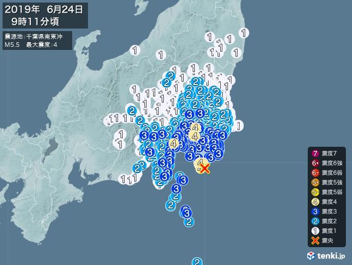 地震情報(2019年06月24日09時11分発生)