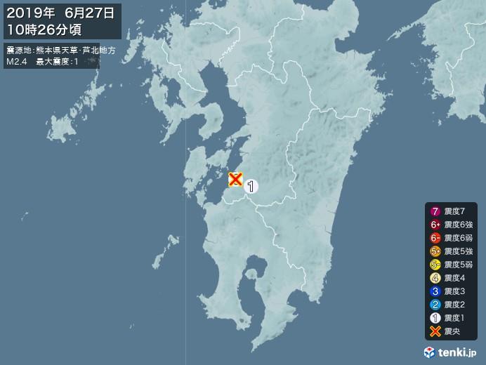地震情報(2019年06月27日10時26分発生)