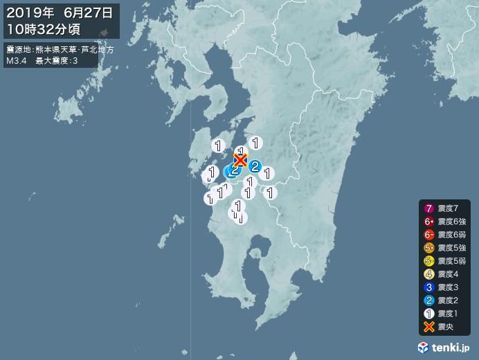 地震情報(2019年06月27日10時32分発生)