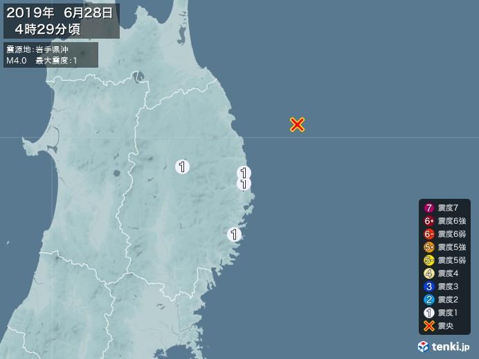 地震情報(2019年06月28日04時29分発生)