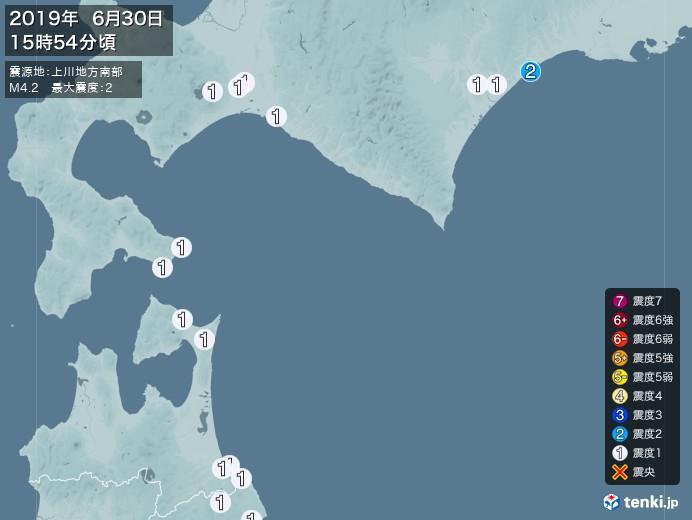 地震情報(2019年06月30日15時54分発生)