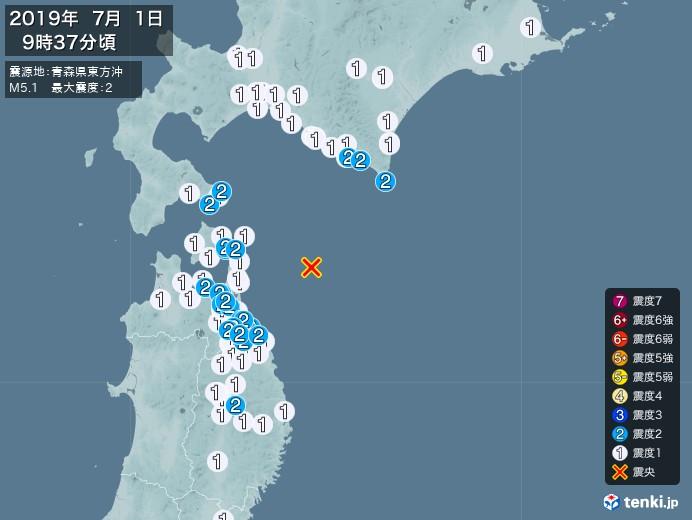 地震情報(2019年07月01日09時37分発生)