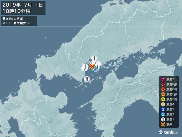 地震情報(2019年07月01日10時10分発生)