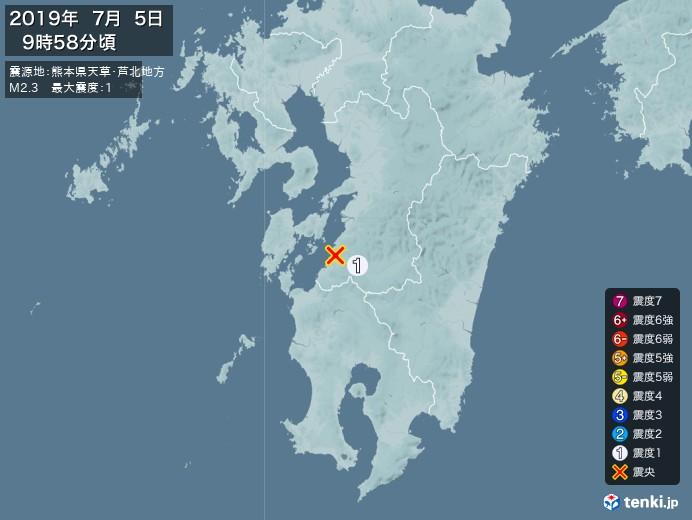 地震情報(2019年07月05日09時58分発生)