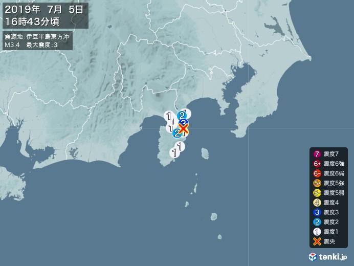 地震情報(2019年07月05日16時43分発生)