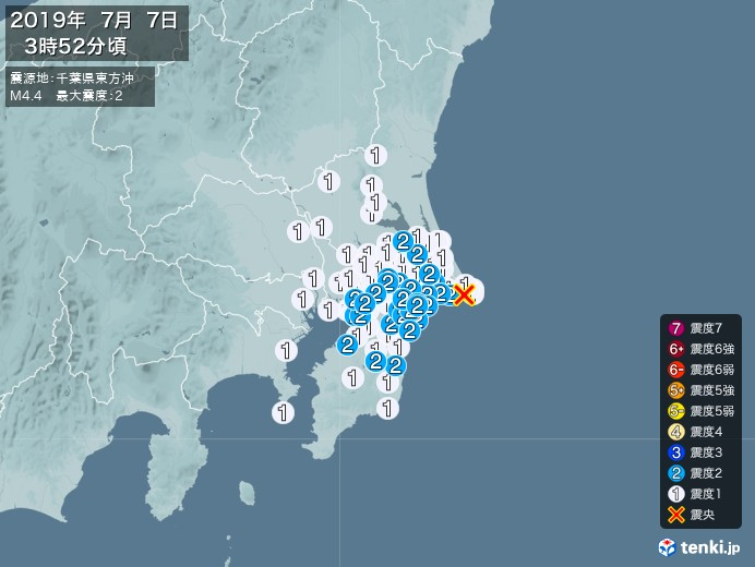 地震情報(2019年07月07日03時52分発生)