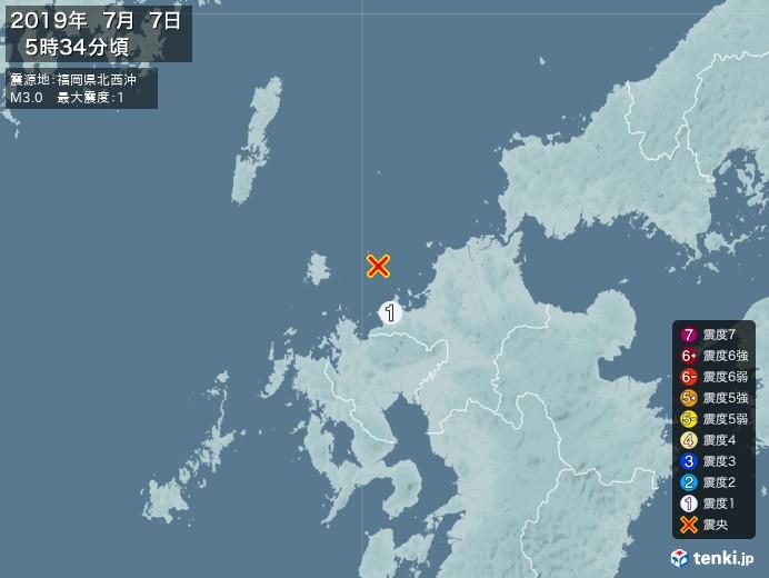 地震情報(2019年07月07日05時34分発生)