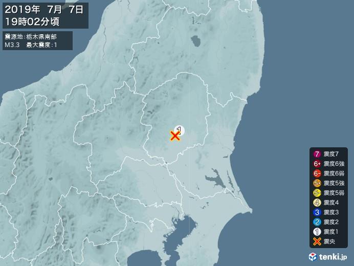 地震情報(2019年07月07日19時02分発生)