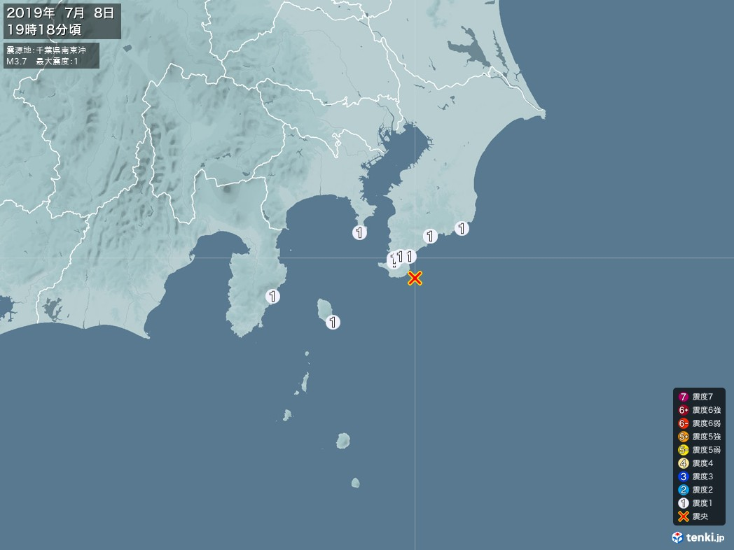 地震情報 2019年07月08日 19時18分頃発生 最大震度:1 震源地:千葉県南東沖(拡大画像)