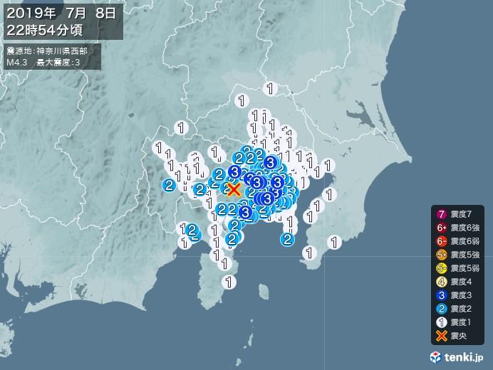 地震情報(2019年07月08日22時54分発生)