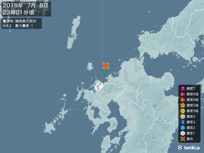 地震情報(2019年07月08日23時01分発生)