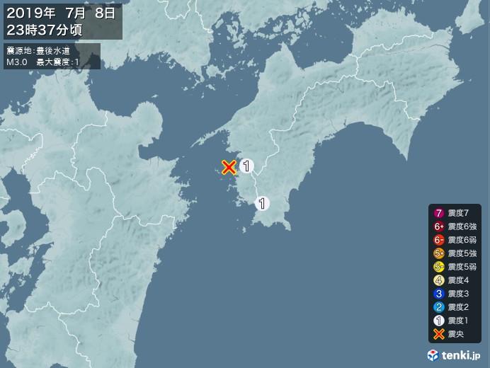 地震情報(2019年07月08日23時37分発生)