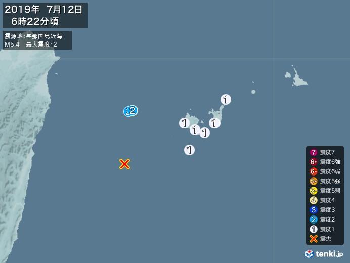 地震情報(2019年07月12日06時22分発生)