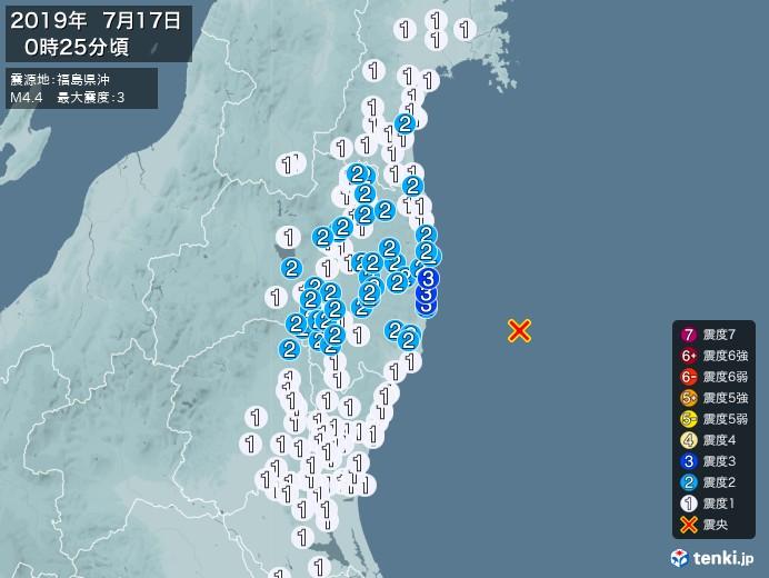 地震情報(2019年07月17日00時25分発生)