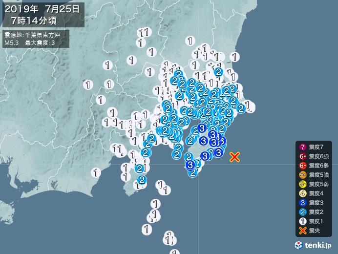 地震情報(2019年07月25日07時14分発生)