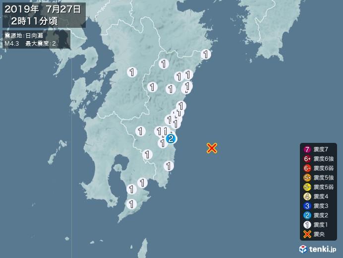 地震情報(2019年07月27日02時11分発生)