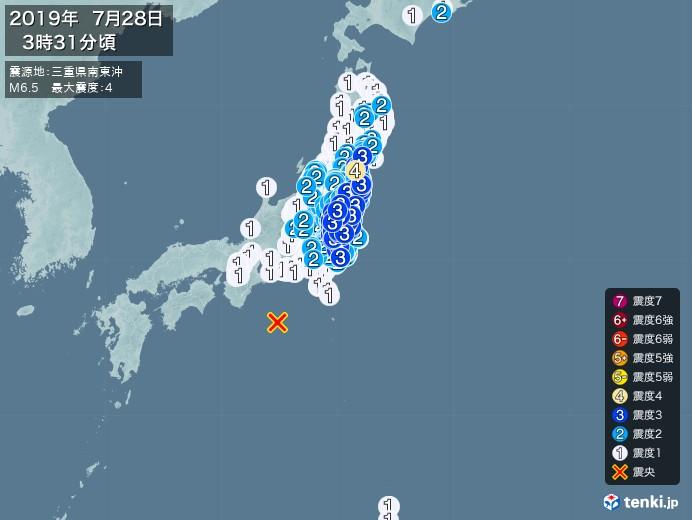 地震情報(2019年07月28日03時31分発生)