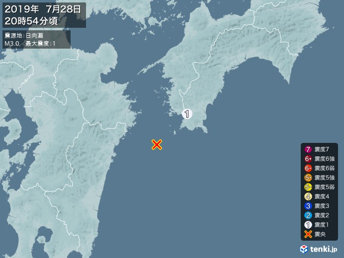 地震情報(2019年07月28日20時54分発生)