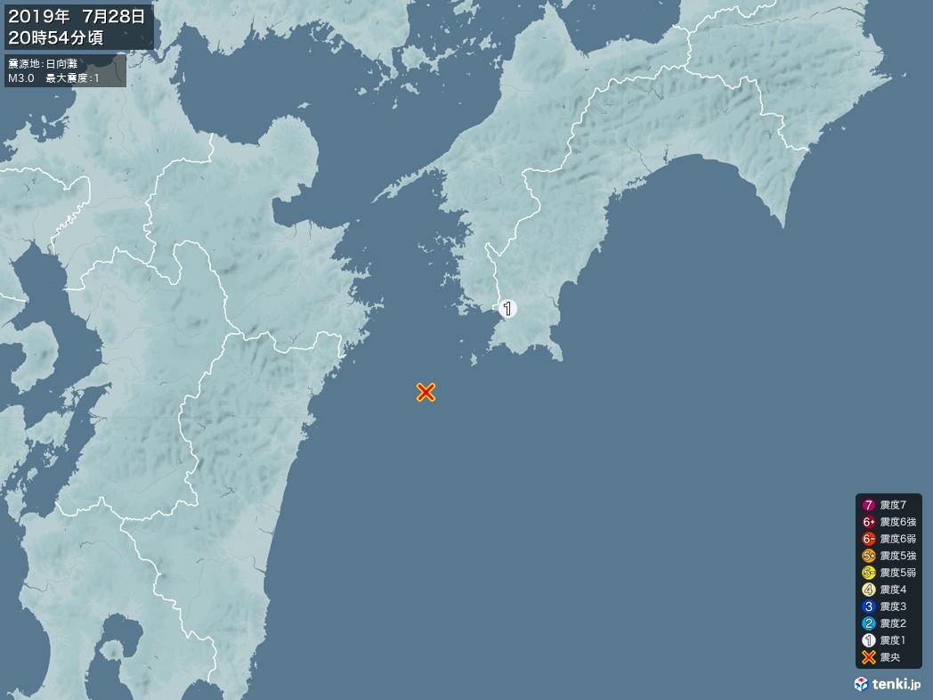 地震情報 2019年07月28日 20時54分頃発生 最大震度:1 震源地:日向灘(拡大画像)