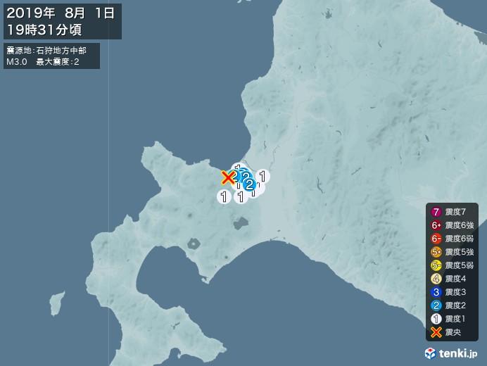 地震情報(2019年08月01日19時31分発生)