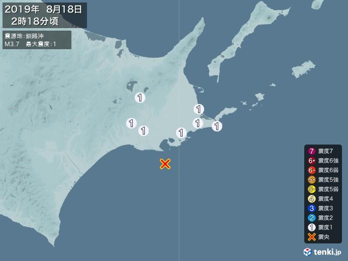 地震情報(2019年08月18日02時18分発生)