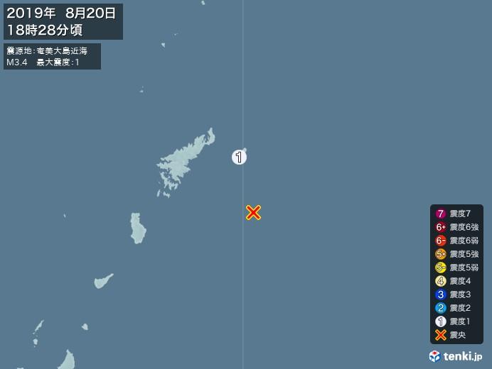 地震情報(2019年08月20日18時28分発生)