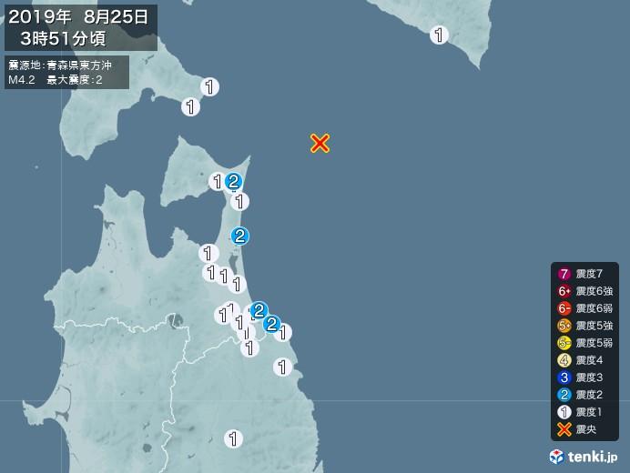 地震情報(2019年08月25日03時51分発生)