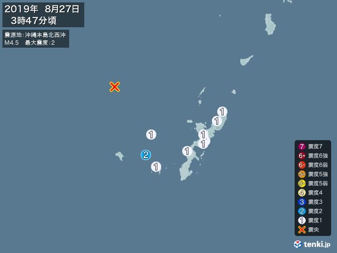地震情報(2019年08月27日03時47分発生)