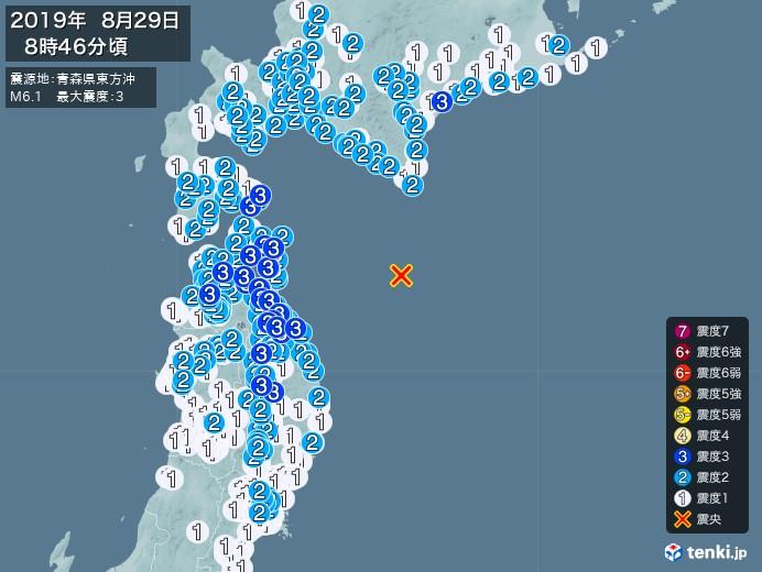 地震情報(2019年08月29日08時46分発生)