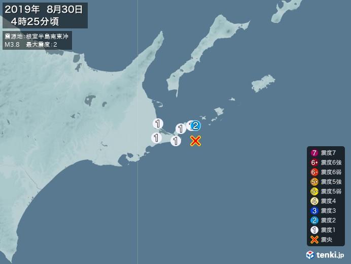 地震情報(2019年08月30日04時25分発生)