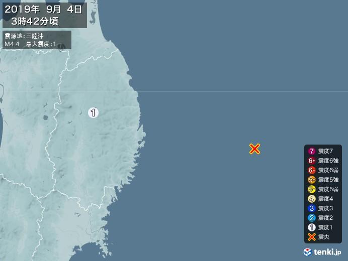 地震情報(2019年09月04日03時42分発生)