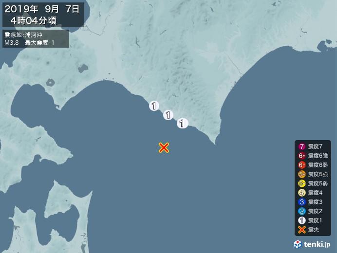 地震情報(2019年09月07日04時04分発生)