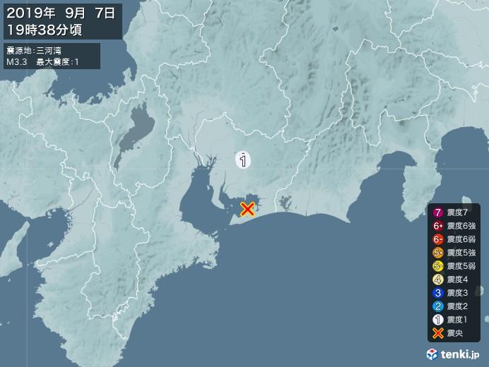 地震情報(2019年09月07日19時38分発生)