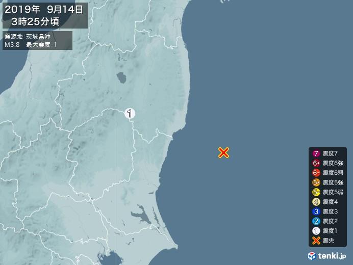地震情報(2019年09月14日03時25分発生)