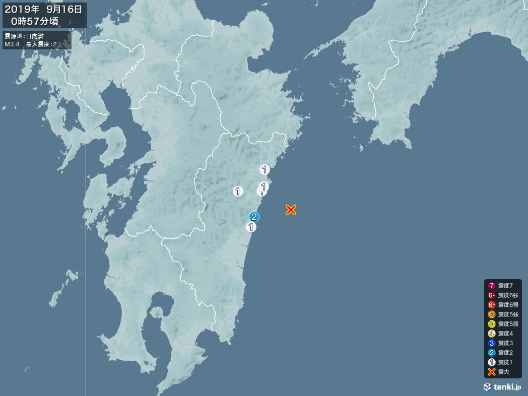 地震情報 2019年09月16日 00時57分頃発生 最大震度:2 震源地:日向灘(拡大画像)