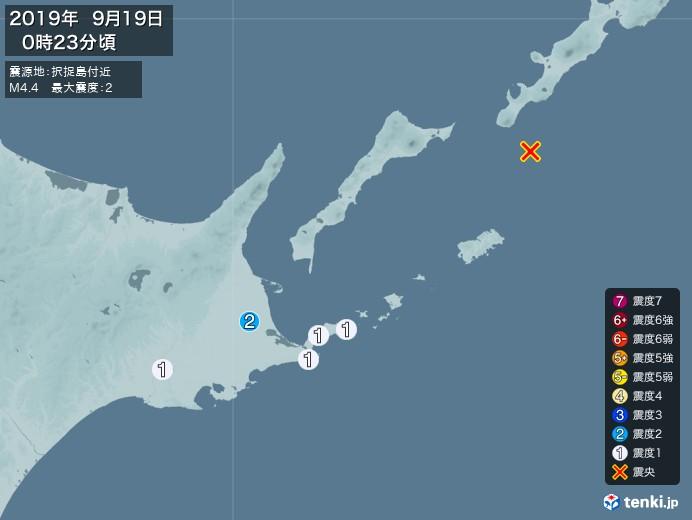地震情報(2019年09月19日00時23分発生)