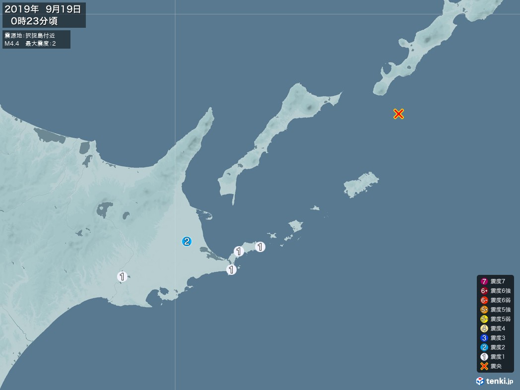 地震情報 2019年09月19日 00時23分頃発生 最大震度:2 震源地:択捉島付近(拡大画像)