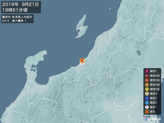 地震情報(2019年09月21日19時51分発生)