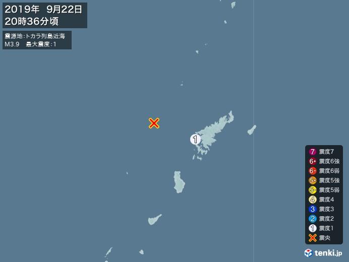地震情報(2019年09月22日20時36分発生)